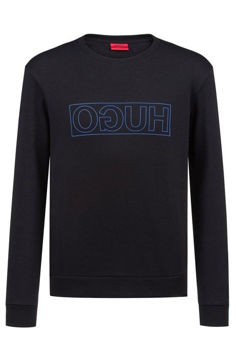 Sweatshirt aus Baumwolle mit Reversed-Logo und Rundhalsausschnitt, Schwarz