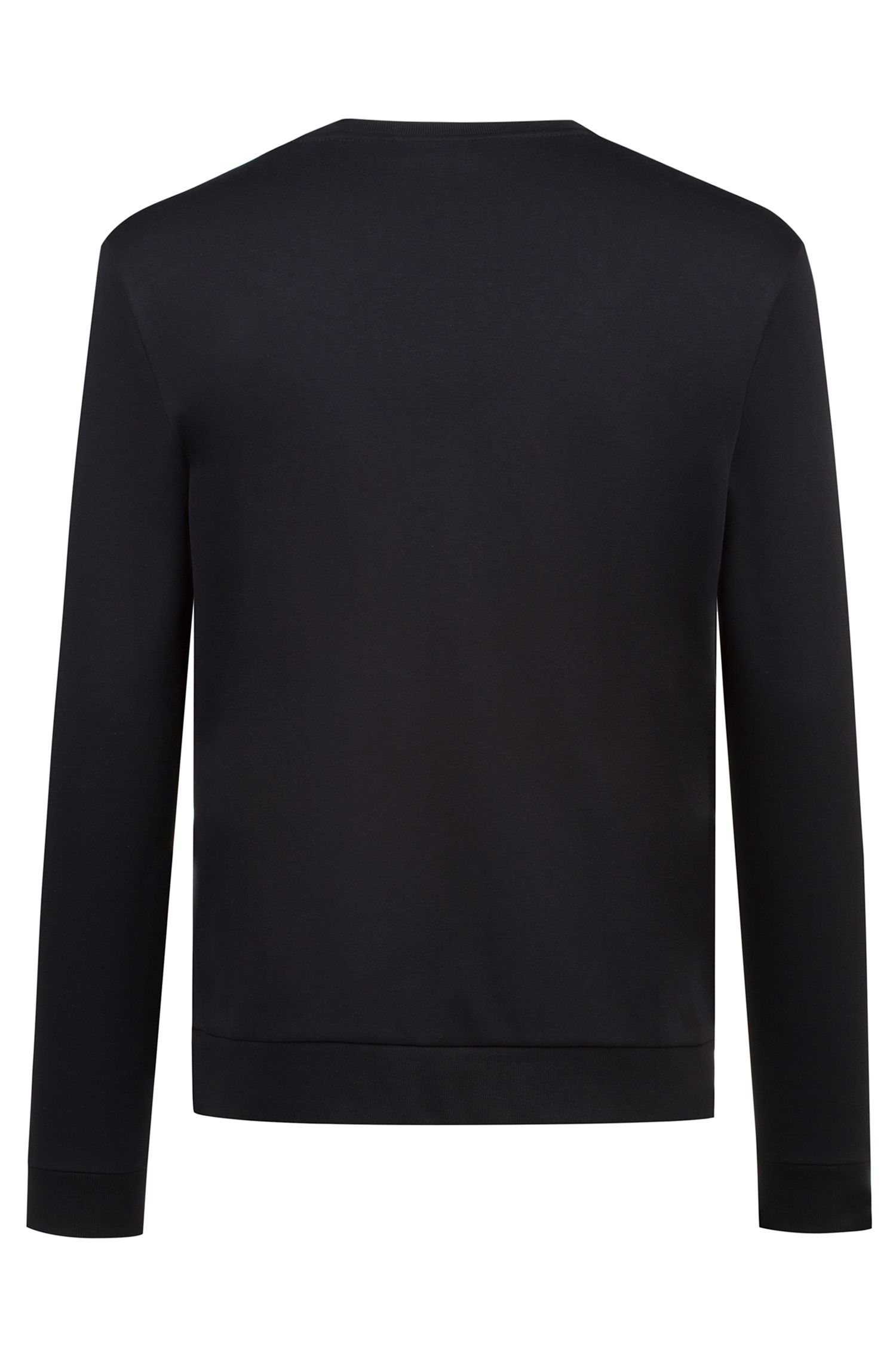 Crew-neck sweatshirt in pure cotton with reverse logo, Black