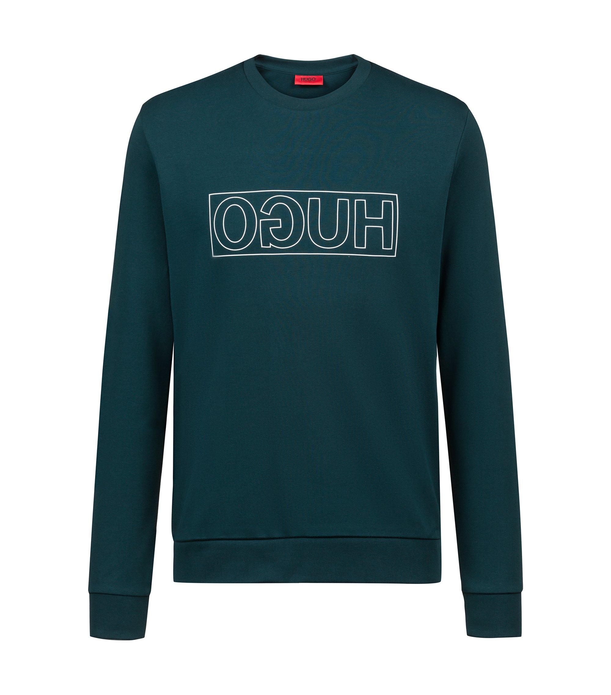 Sweat à col ras-du-cou en pur coton à logo inversé, Vert sombre