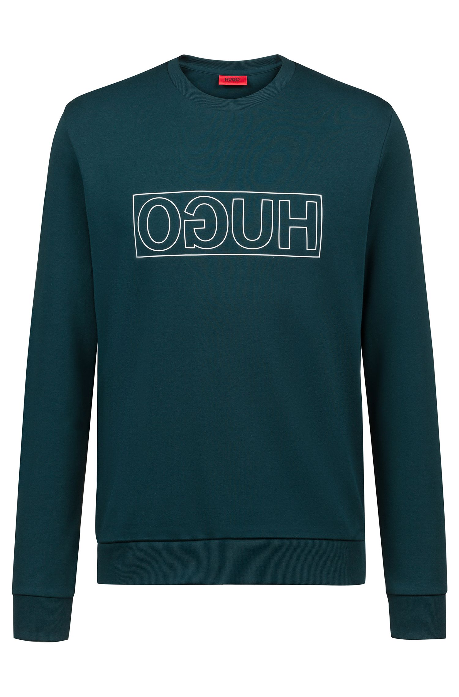 Sweatshirt aus Baumwolle mit Reversed-Logo und Rundhalsausschnitt, Dunkelgrün