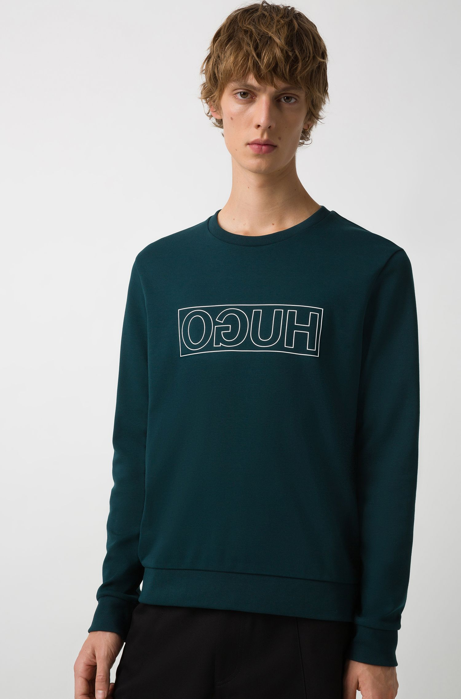 Crew-neck sweatshirt in pure cotton with reverse logo, Dark Green