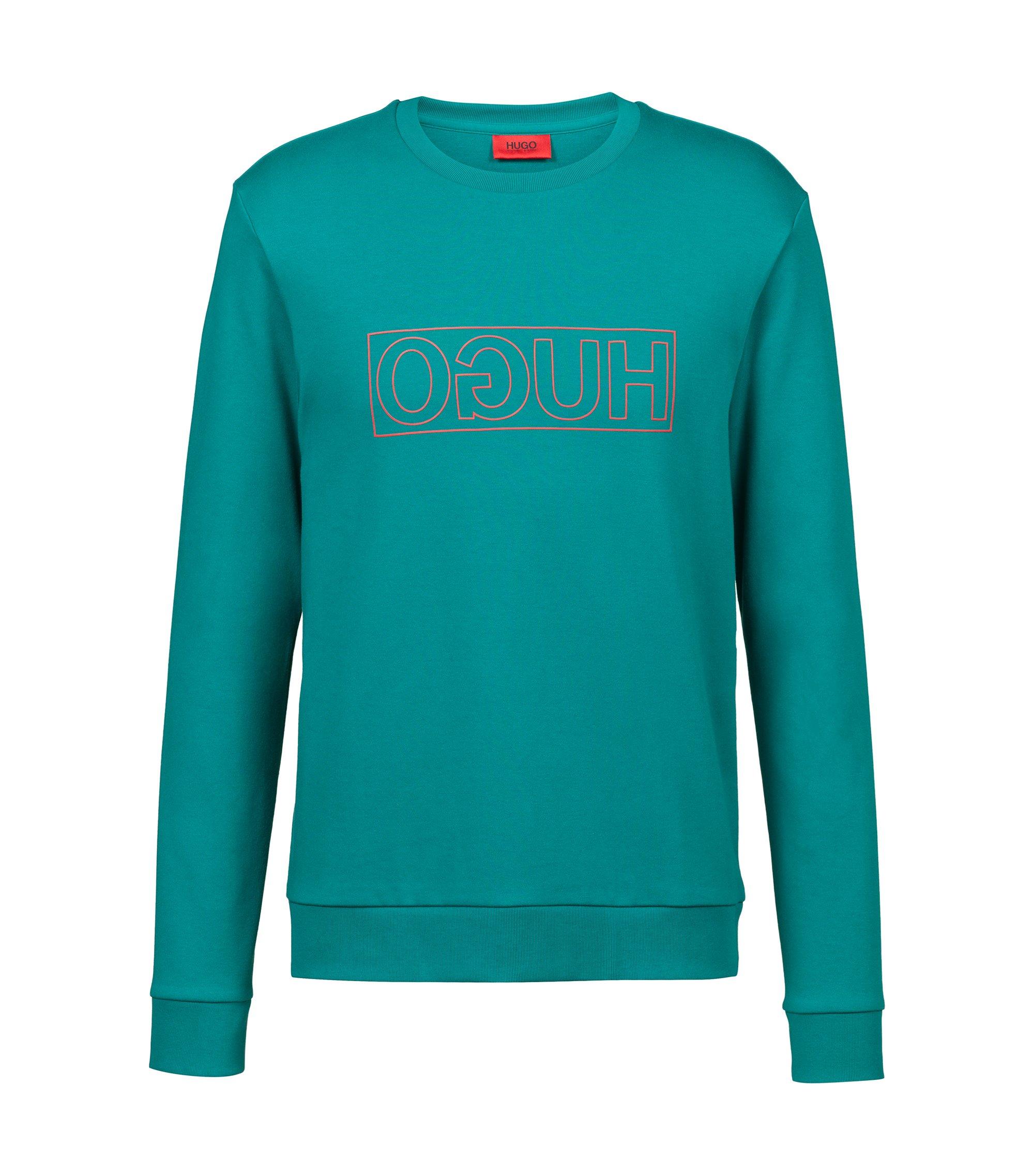 Sweat à col ras-du-cou en pur coton à logo inversé, Turquoise