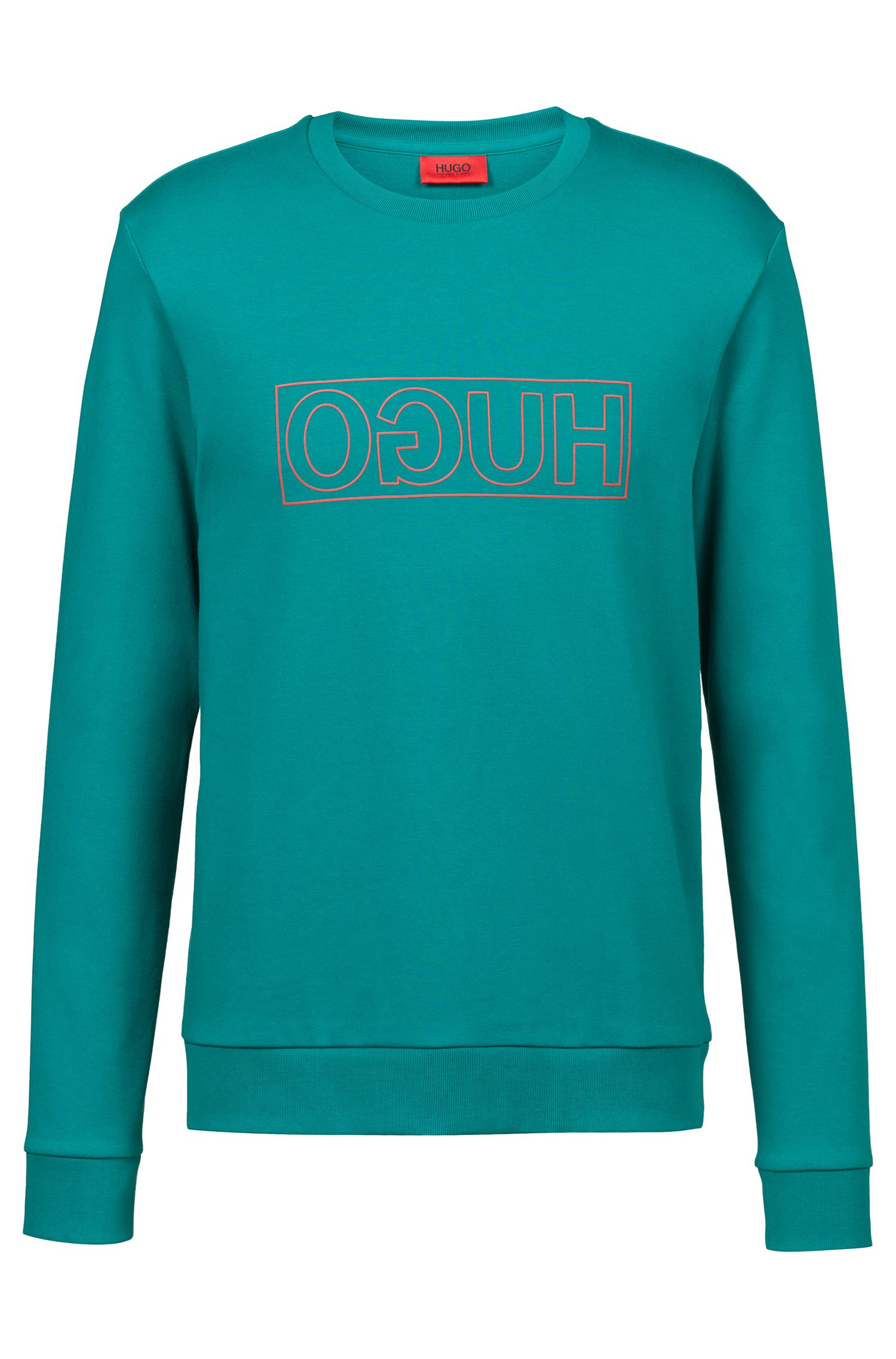 Crew-neck sweatshirt in pure cotton with reverse logo, Turquoise