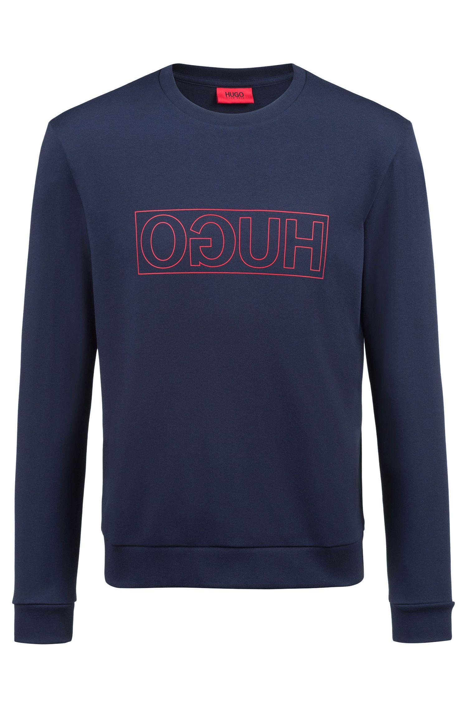 Crew-neck sweatshirt in pure cotton with reverse logo, Dark Blue