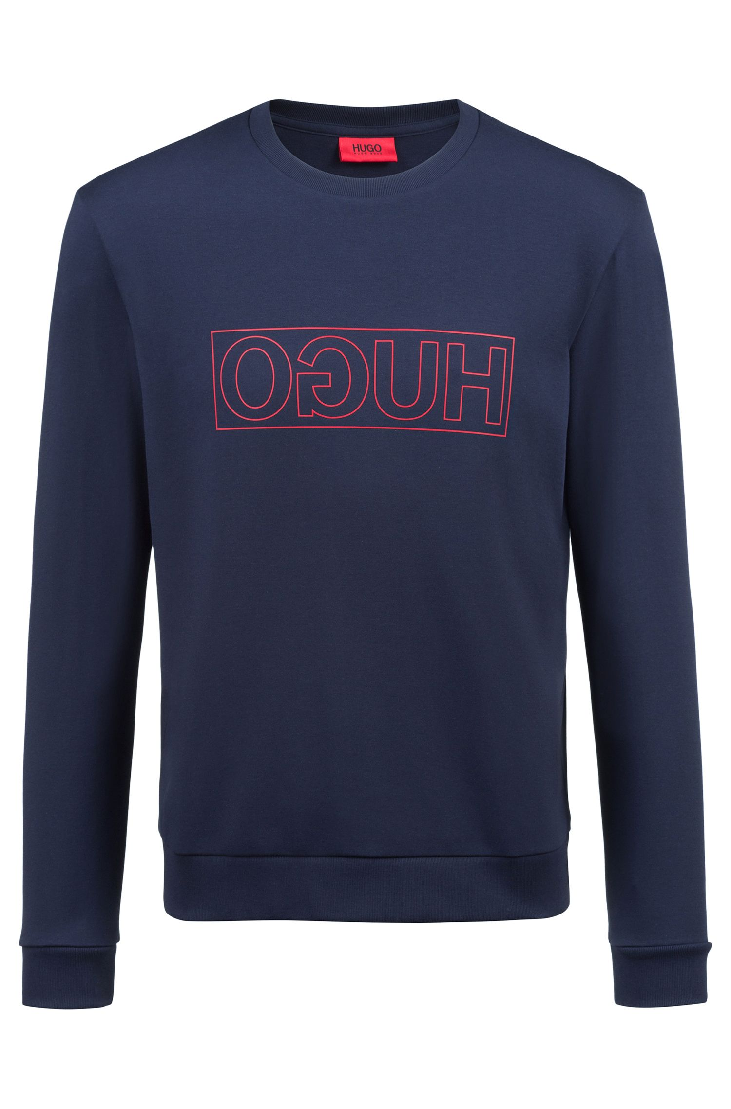 Crew-neck sweatshirt in pure cotton with reverse logo, Dark Blue