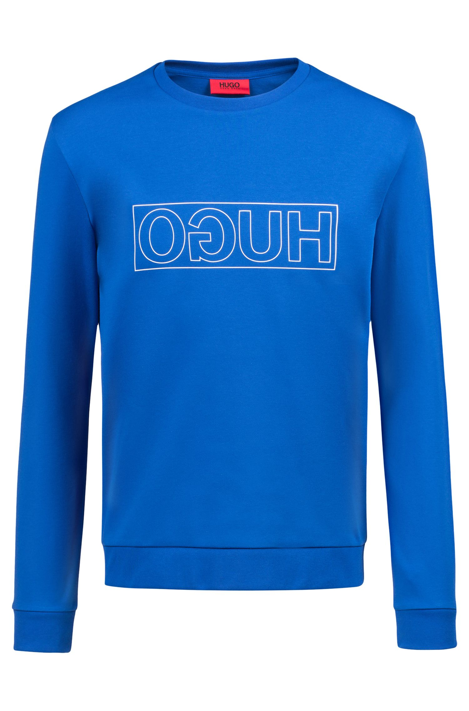 Crew-neck sweatshirt in pure cotton with reverse logo, Blue
