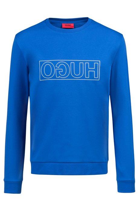 Sweater van zuivere katoen met ronde hals en gespiegeld logo, Blauw