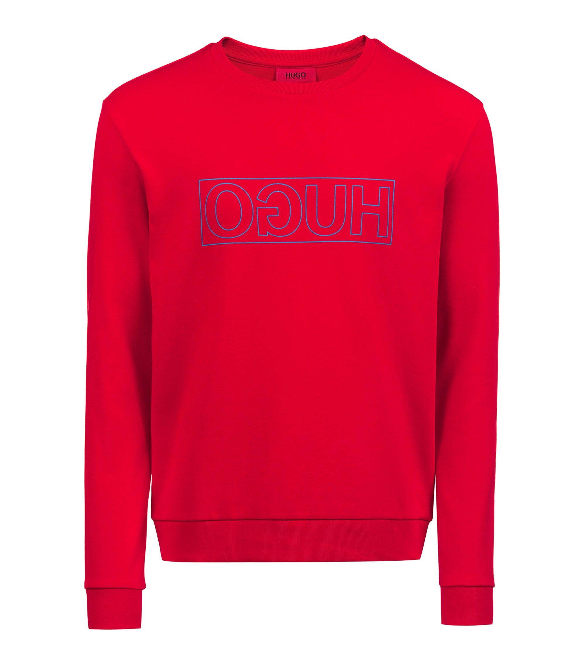 Sweatshirt aus Baumwolle mit Reversed-Logo und Rundhalsausschnitt, Rot