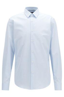 Regular-fit overhemd van katoen met gestructureerde ministrepen, Lichtblauw