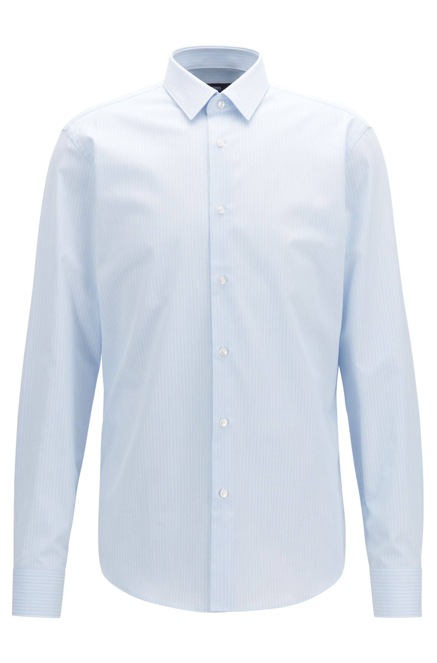 Regular-fit shirt in cotton with textured fine stripe, Light Blue