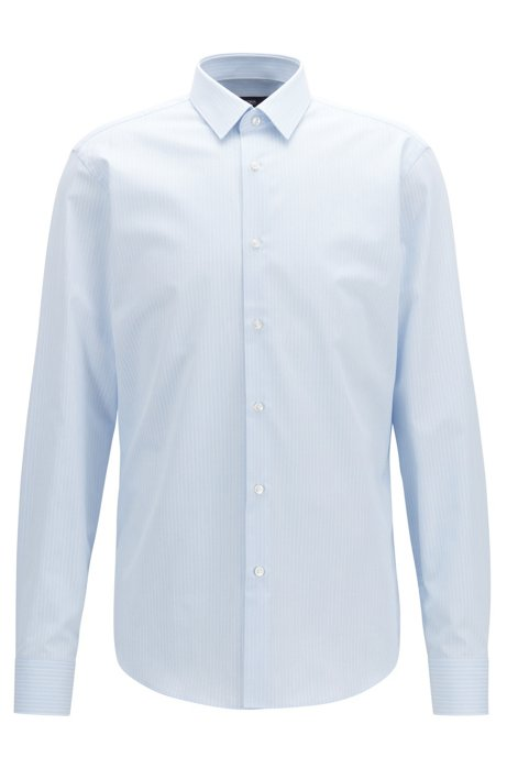 18ade5f6f Regular-fit shirt in cotton with textured fine stripe, Light Blue