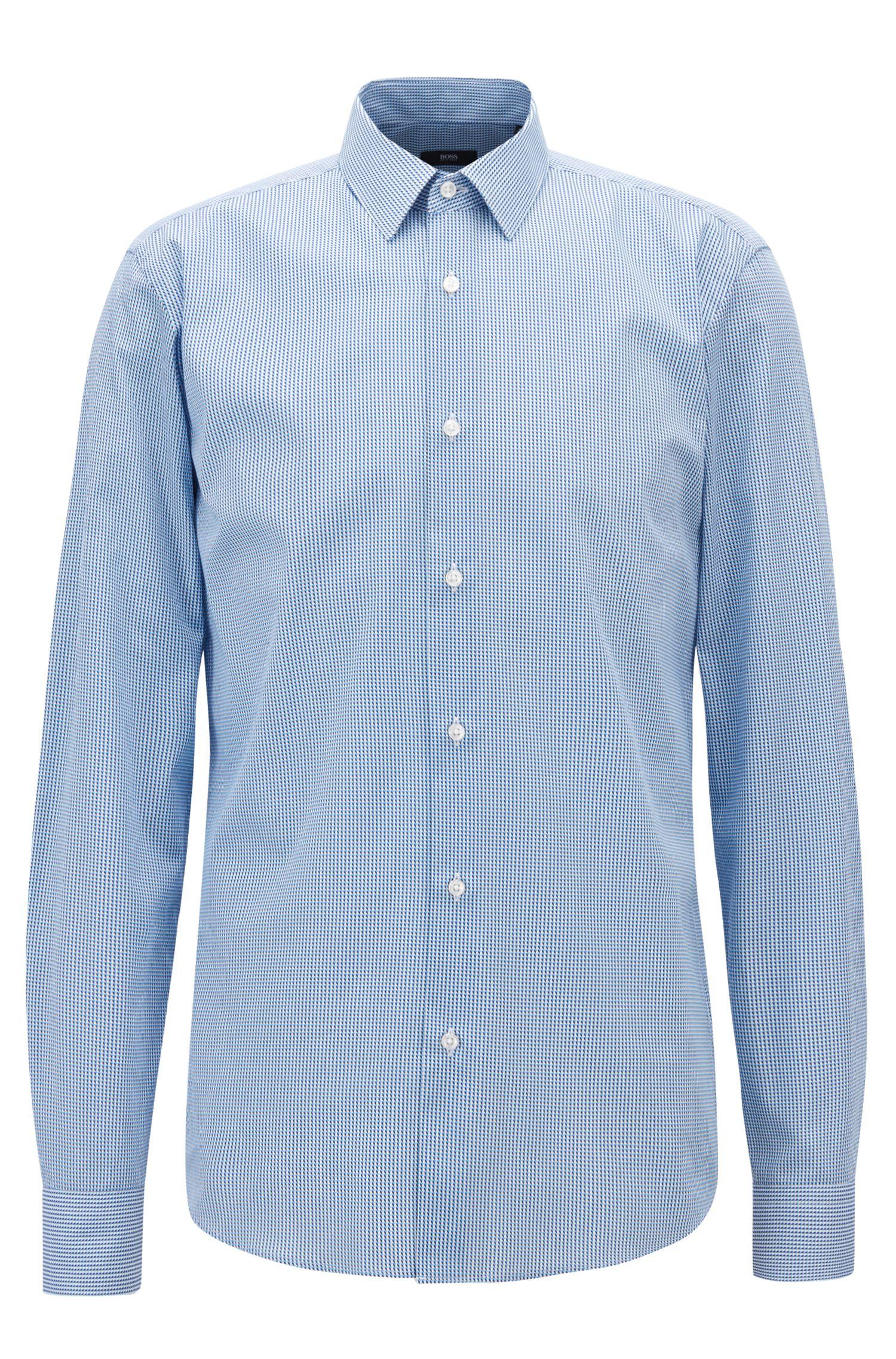 Regular-fit overhemd van katoen met driedimensionale print, Bedrukt
