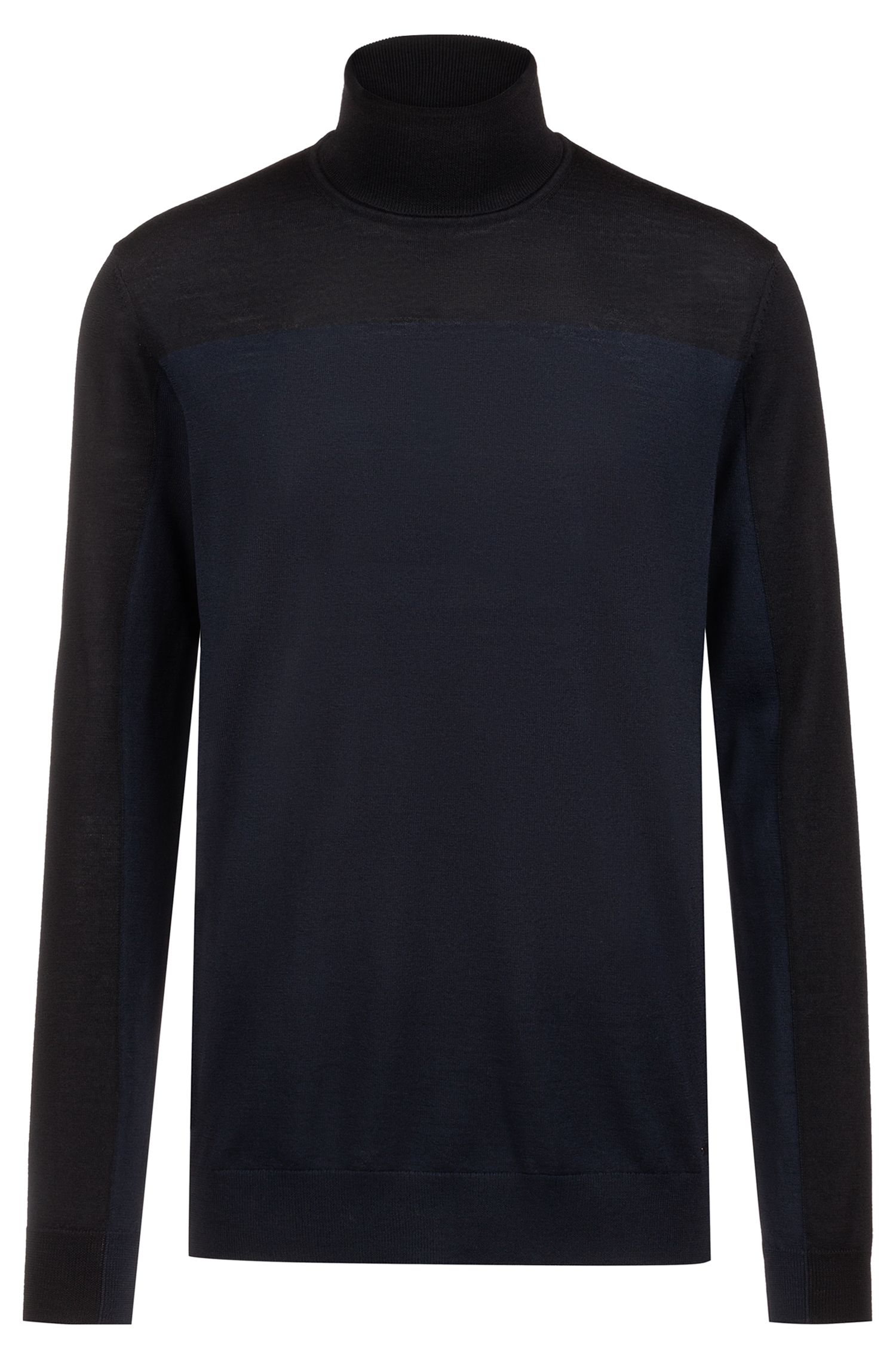 Slim-fit turtleneck sweater in colour-block merino wool, Dark Blue