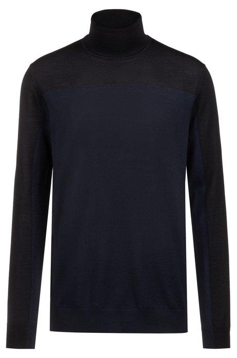 6bfcd09ab HUGO - Slim-fit turtleneck sweater in colour-block merino wool