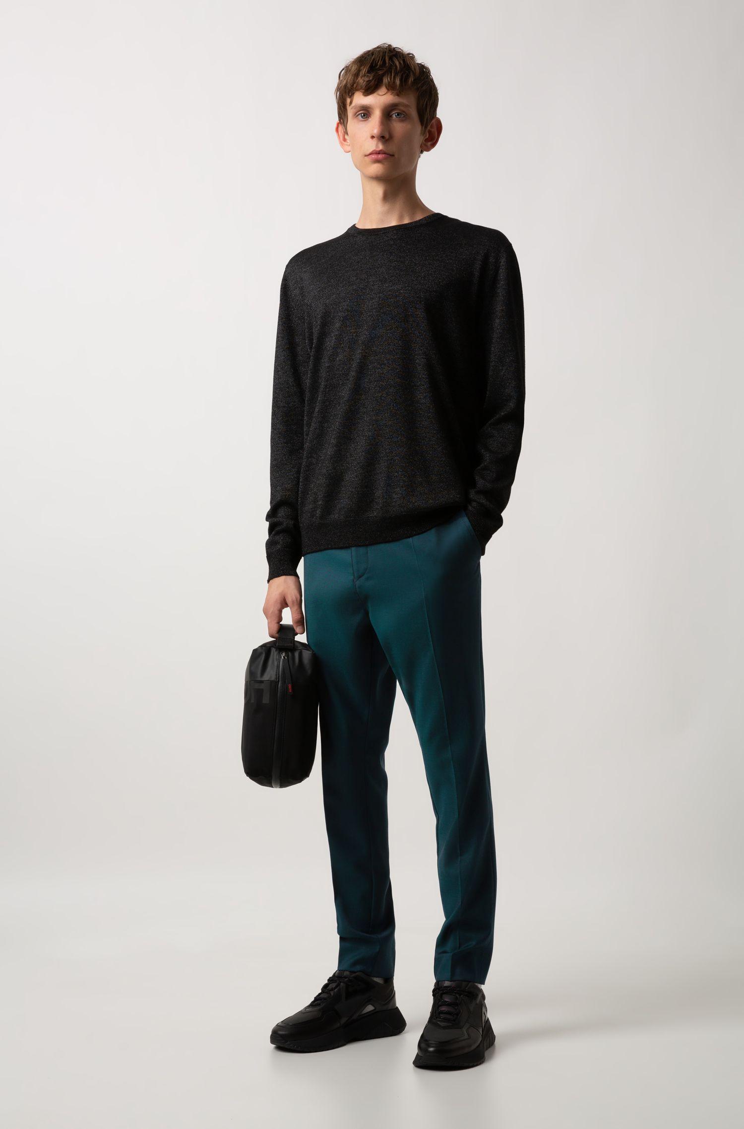 Pull en maille en laine mélangée légèrement brillante, Noir