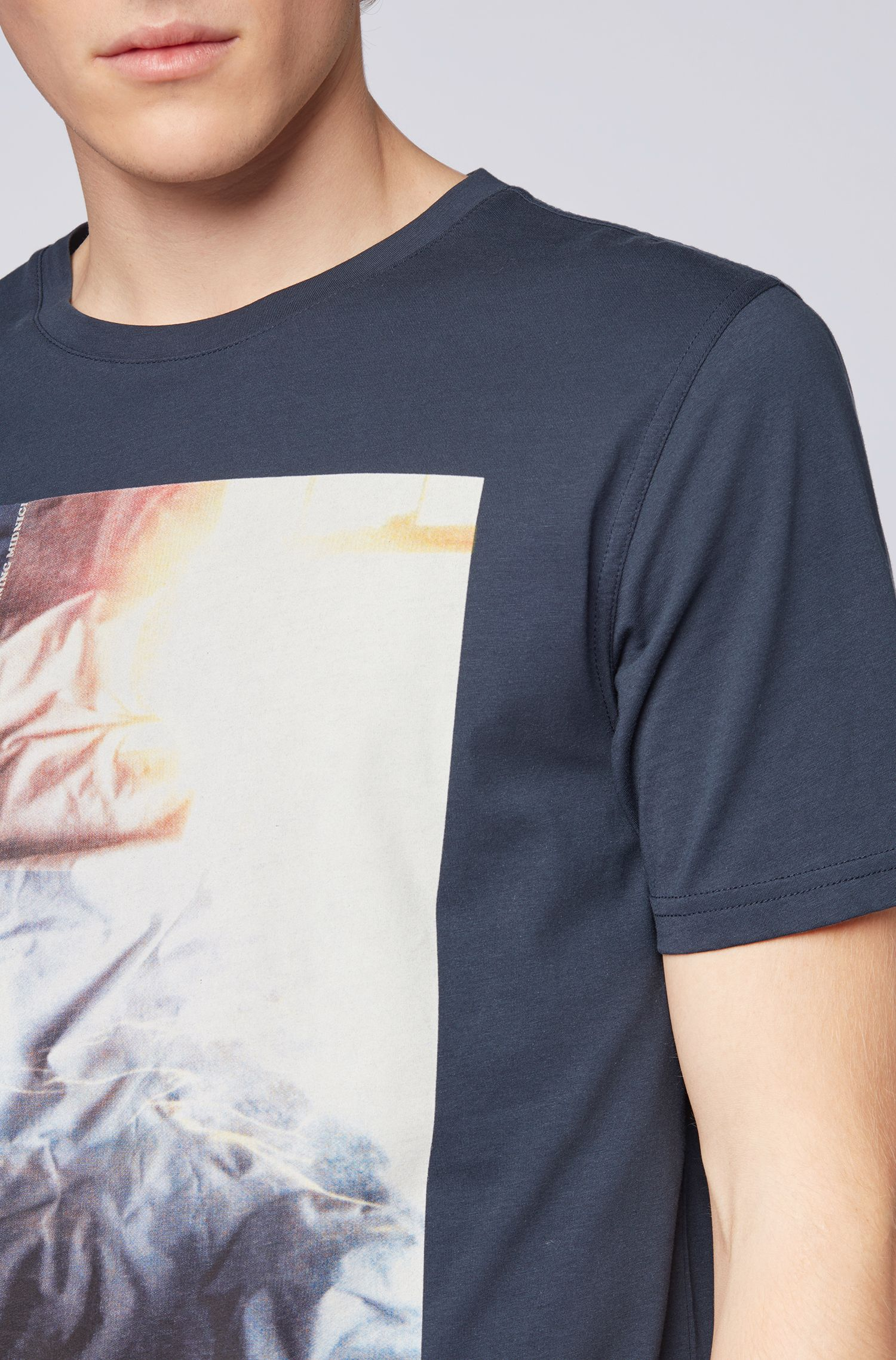 Washed cotton-jersey T-shirt with mixed-print graphic, Dark Blue