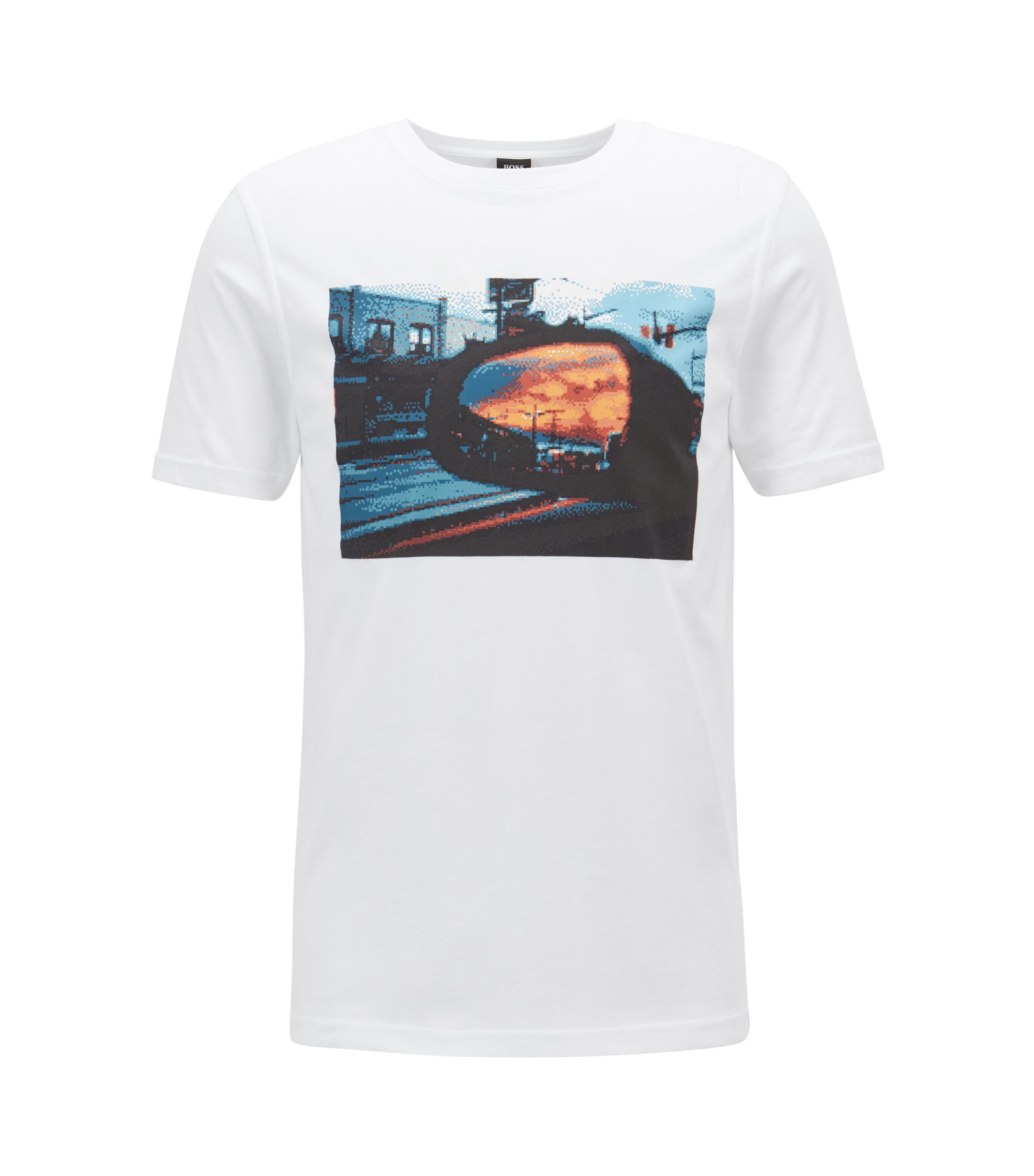 Washed cotton jersey T-shirt with waterbased print, White