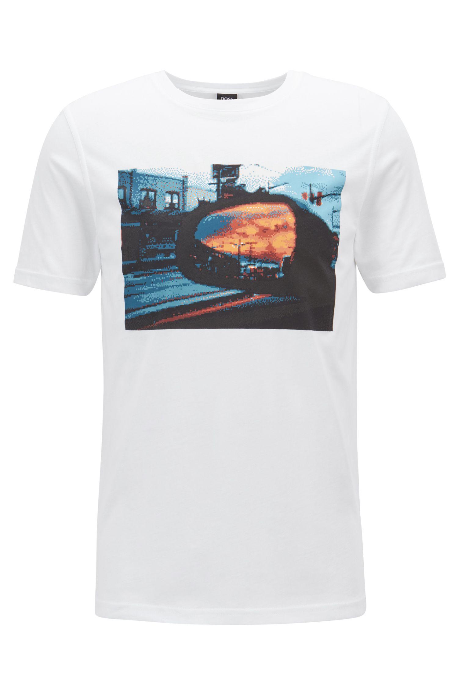 T-shirt en jersey de coton délavé à imprimé à base d'eau, Blanc