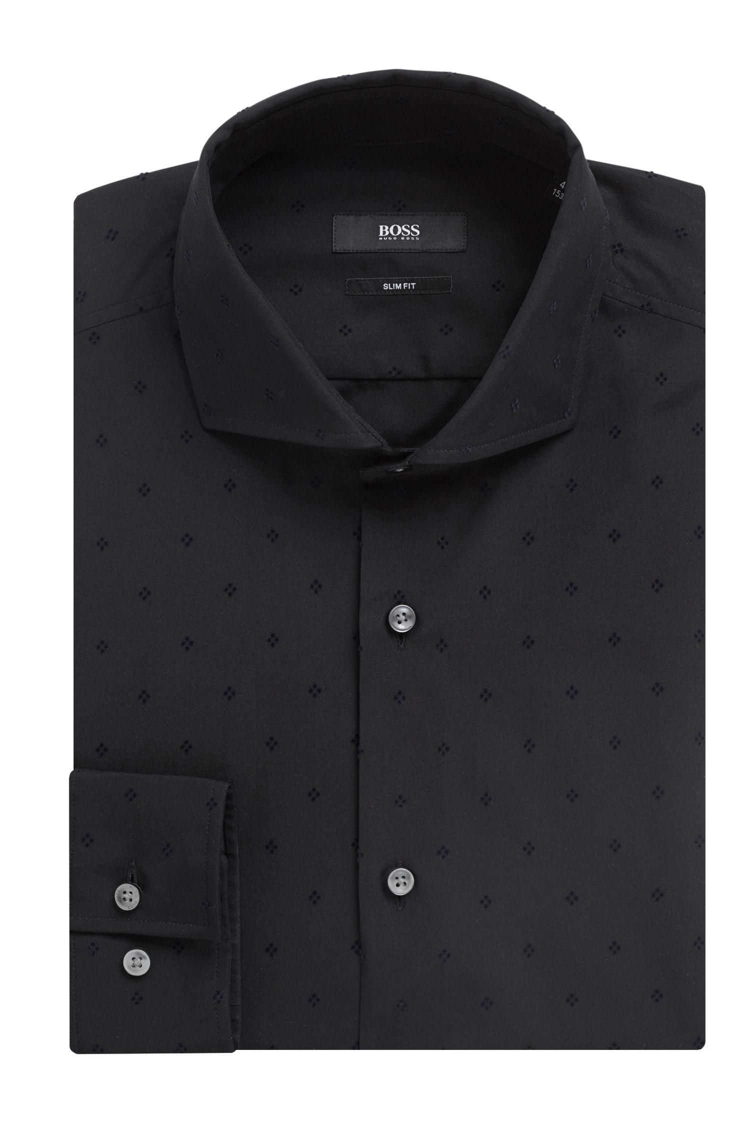 In Italië vervaardigd, slim-fit overhemd met geometrisch vlokkendessin, Zwart