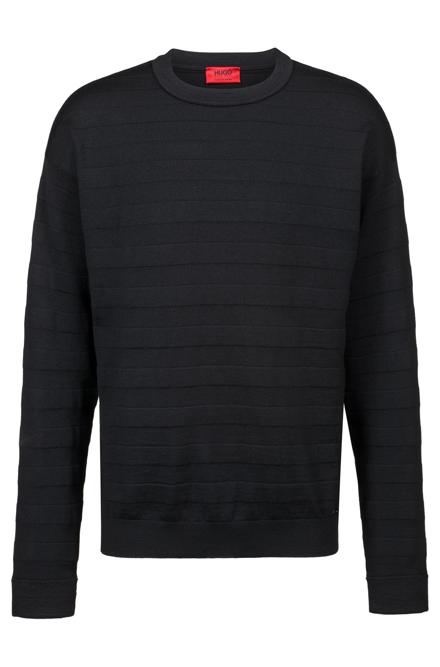 Oversized-fit sweater in merino wool with 3D stripes, Black