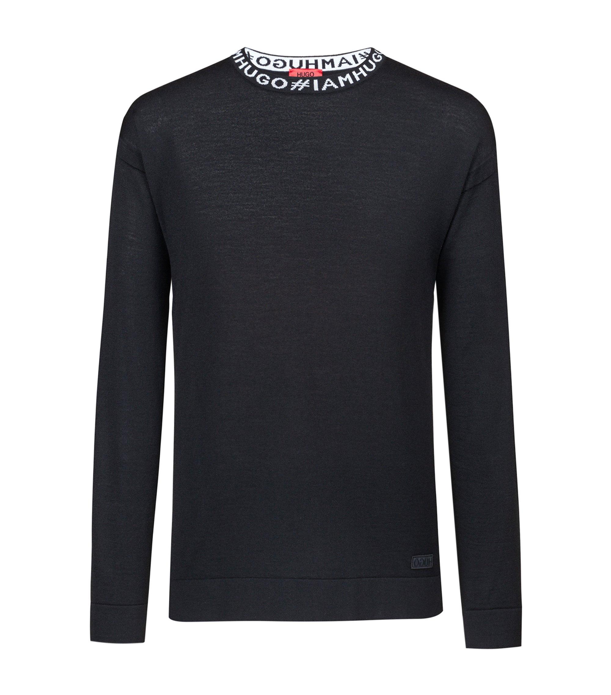 Oversized Pullover aus Schurwolle mit Slogan-Intarsie, Schwarz