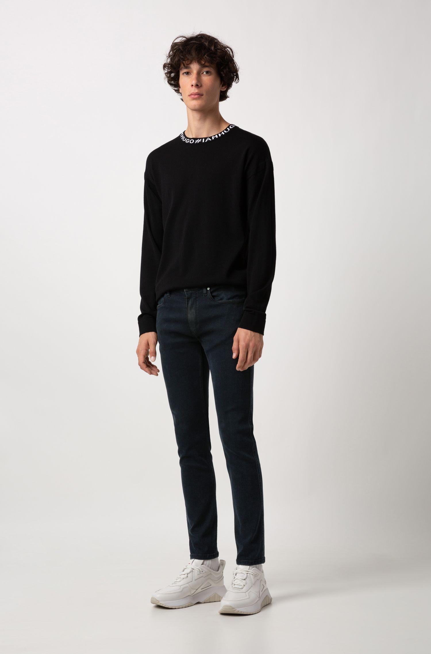Jersey oversized fit en lana virgen con logo en intarsia, Negro