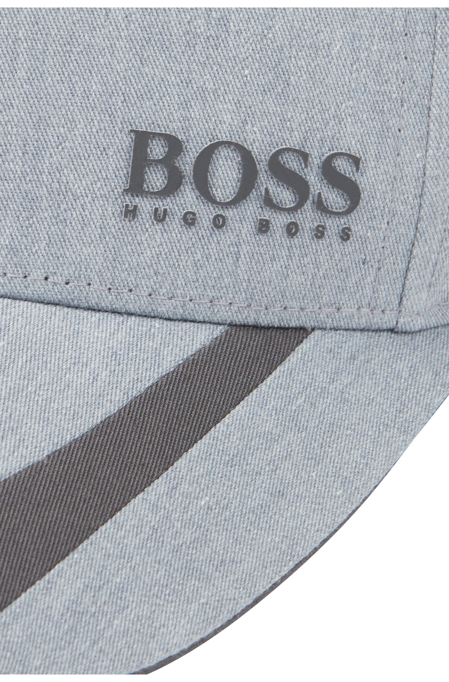 Cap aus Twill in Colour-Block-Optik mit verstellbarem Verschluss, Grau