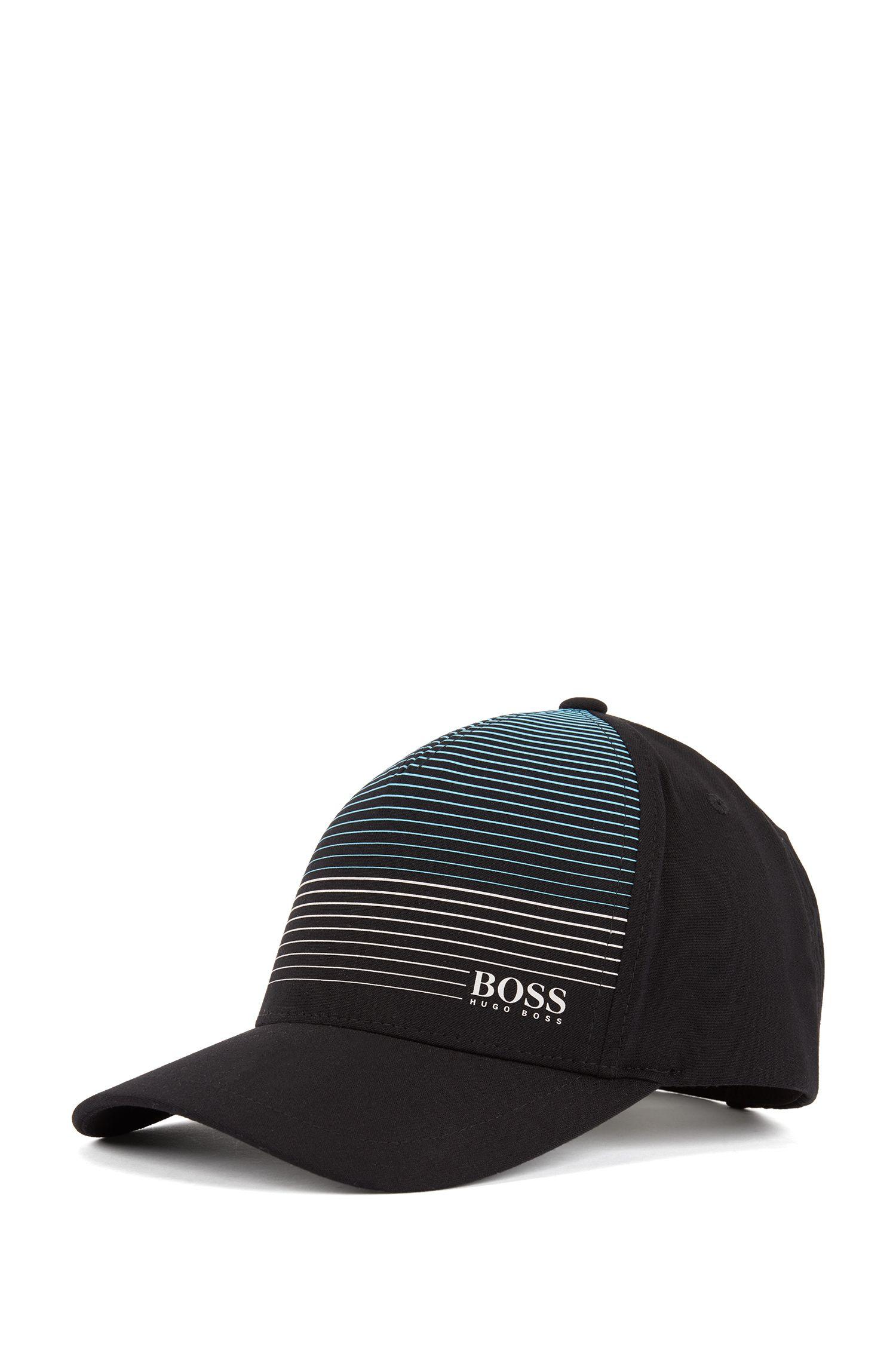 Adjustable cap in stretch melange with rubberised stripe pattern, Black