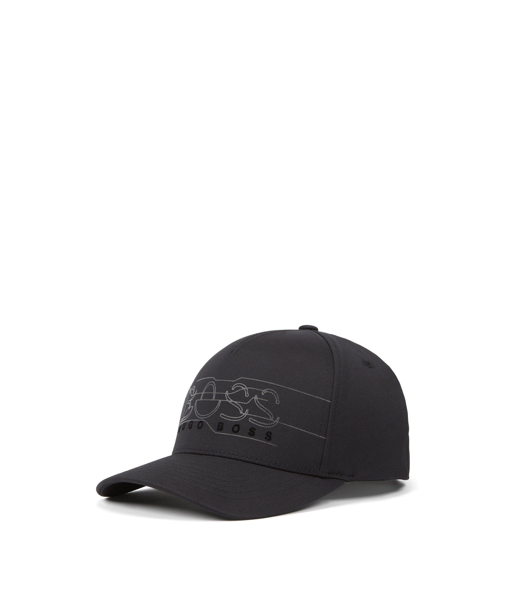 Cappellino in twill doppio con logo stampato riflettente, Nero