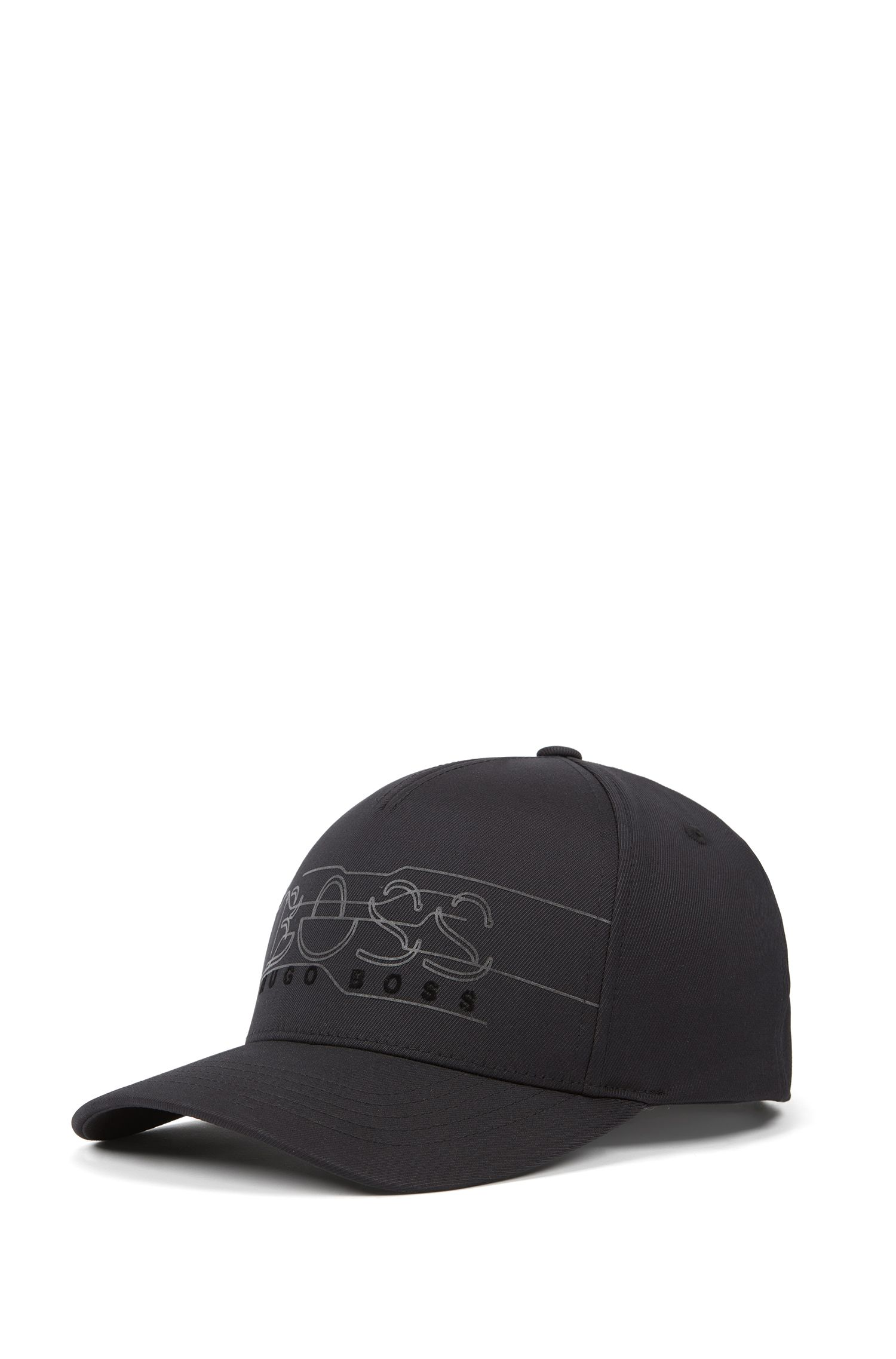 Double-twill cap with reflective logo print, Black
