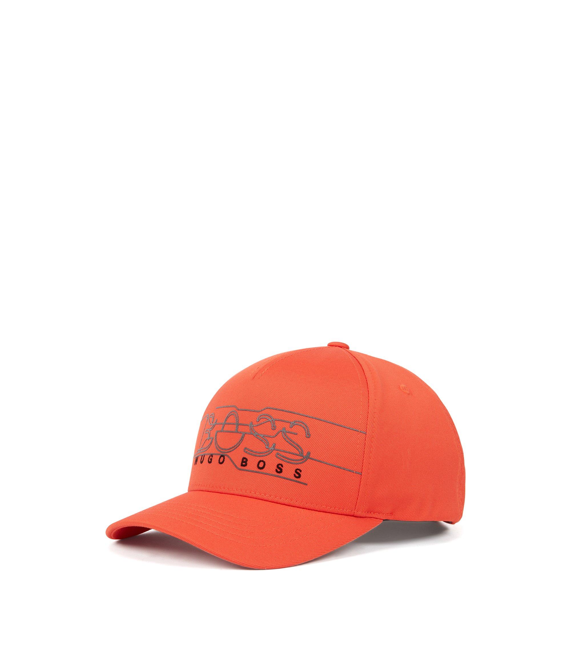Casquette en twill double avec logo imprimé réfléchissant, Orange