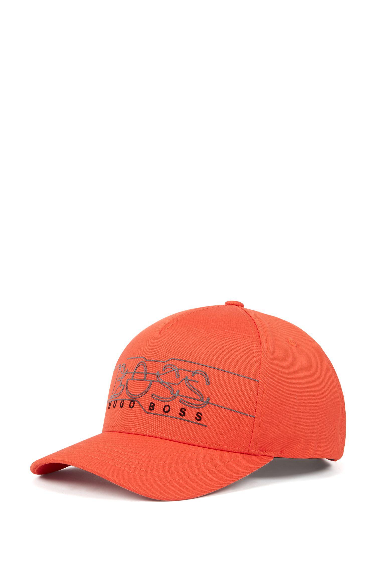 Double-twill cap with reflective logo print, Orange