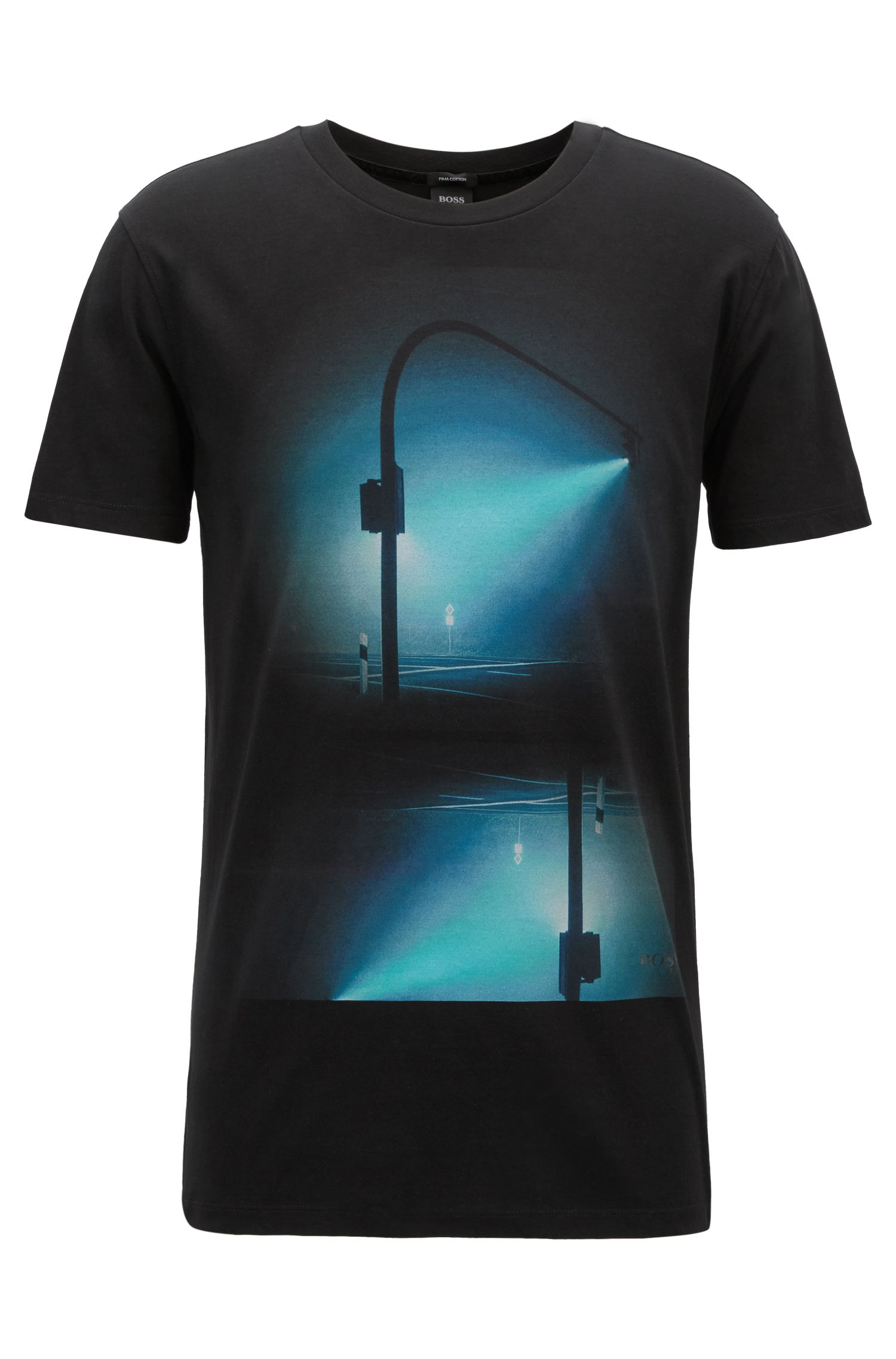 T-shirt van pimakatoen met digitale print, Zwart