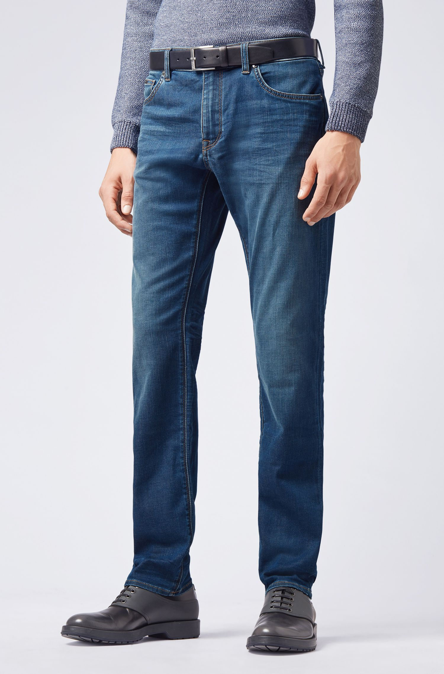 Regular-Fit Jeans aus softem Stretch-Denim, Blau
