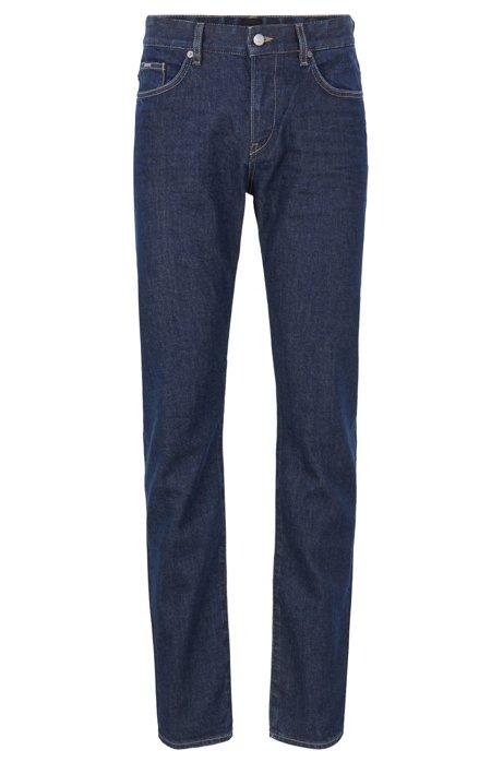 Jeans slim fit in denim elasticizzato realizzato in Italia, Blu scuro