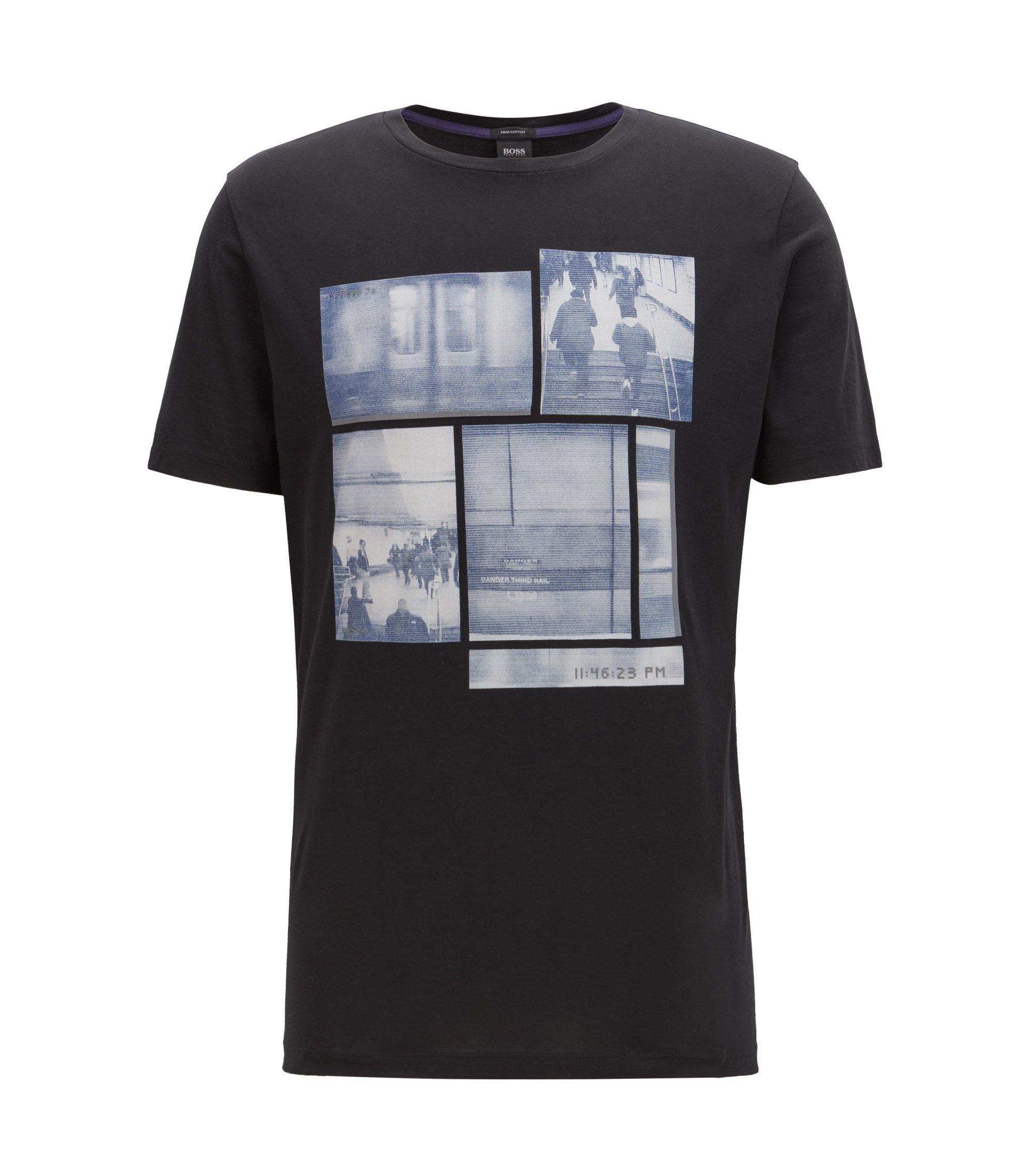 T-Shirt aus Pima-Baumwolle mit Foto-Print, Schwarz
