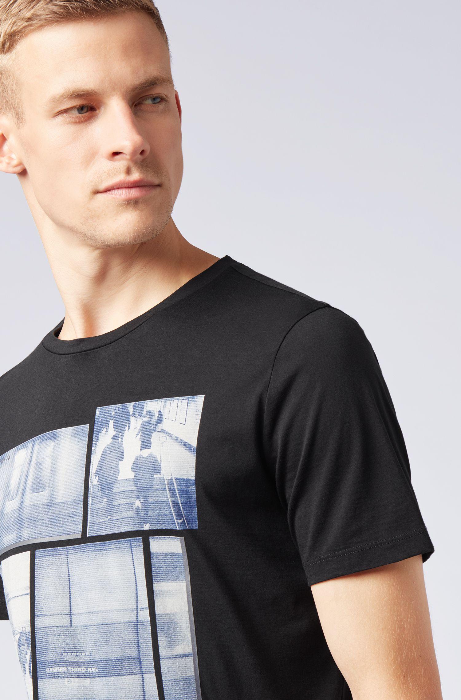 Camiseta de algodón Pima con estampados fotográficos con base acuosa, Negro