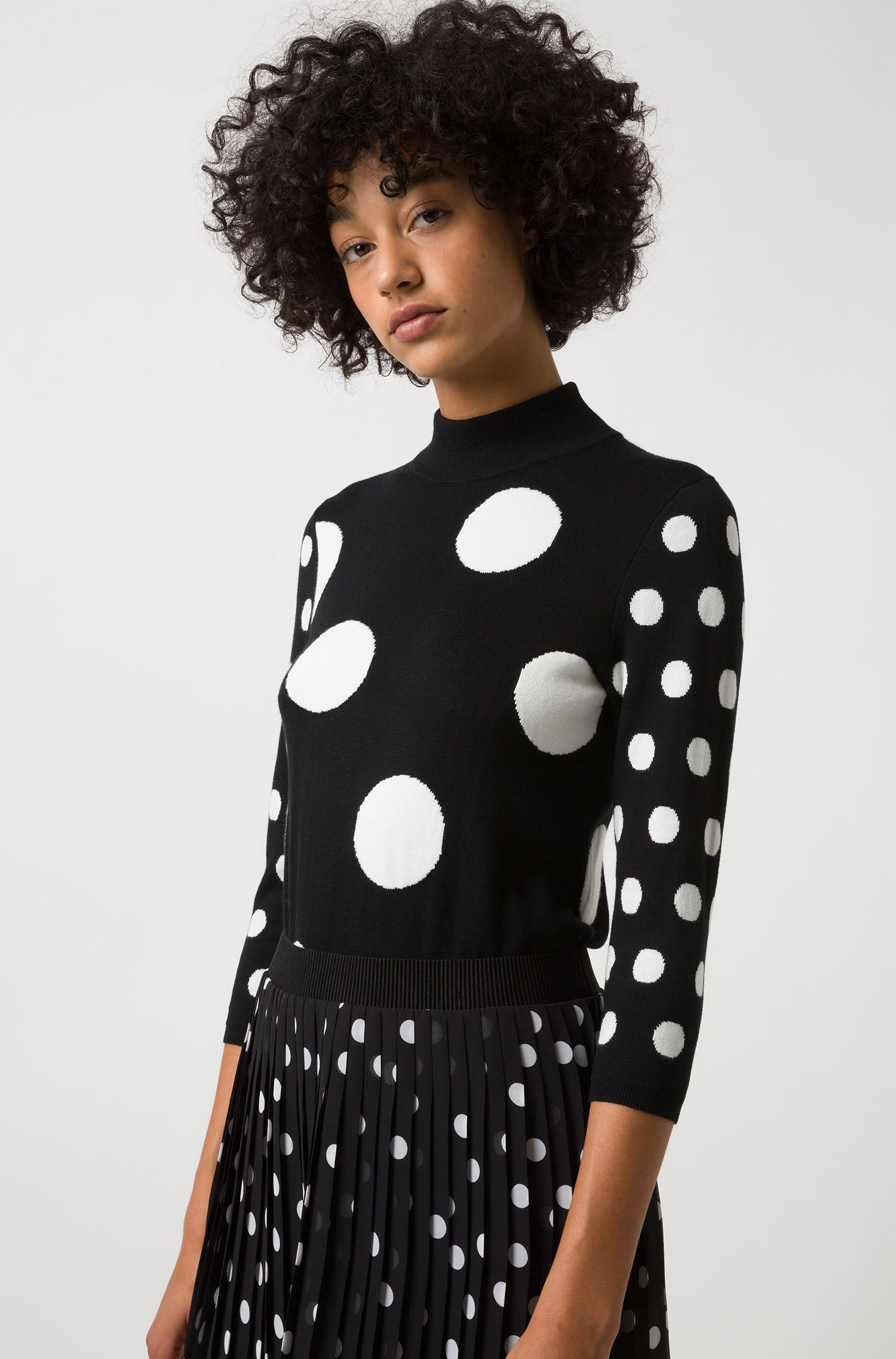 Slim-fit sweater with jacquard-knitted polka-dot motif, Black