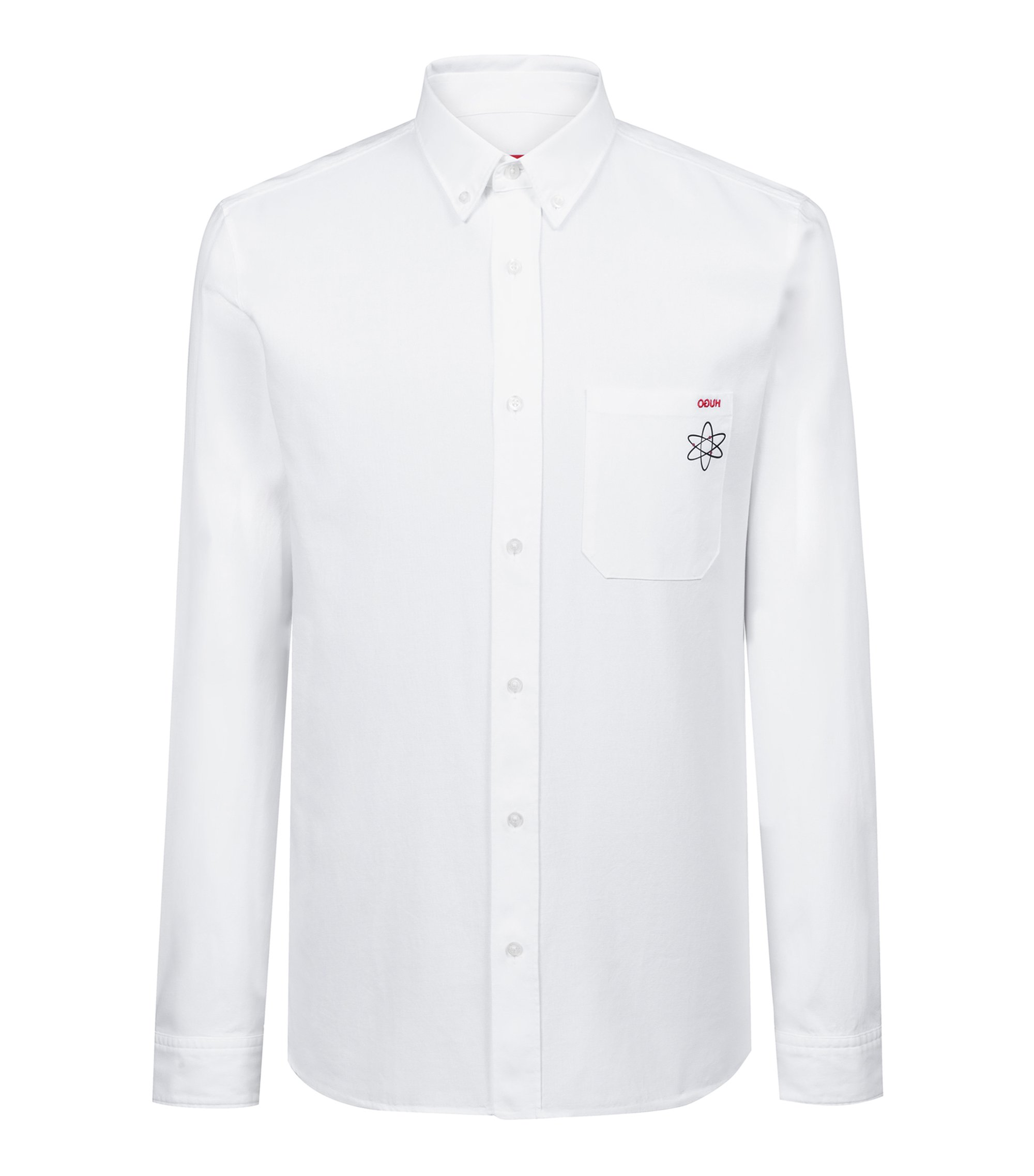 Relaxed-fit shirt in Oxford cotton with seasonal motif, White