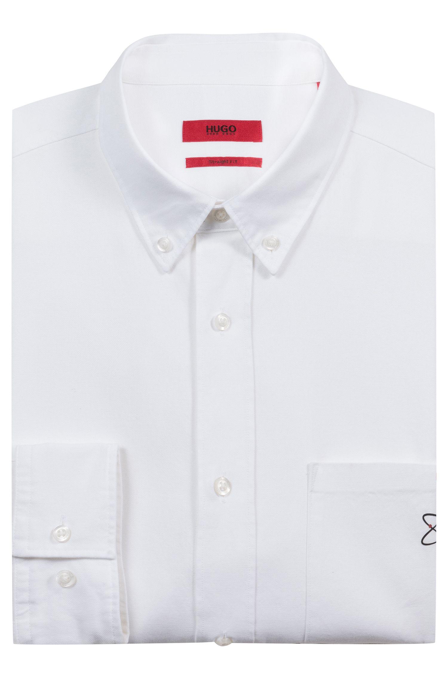 Relaxed-Fit Hemd aus Oxford-Baumwolle mit Saison-Motiv, Weiß