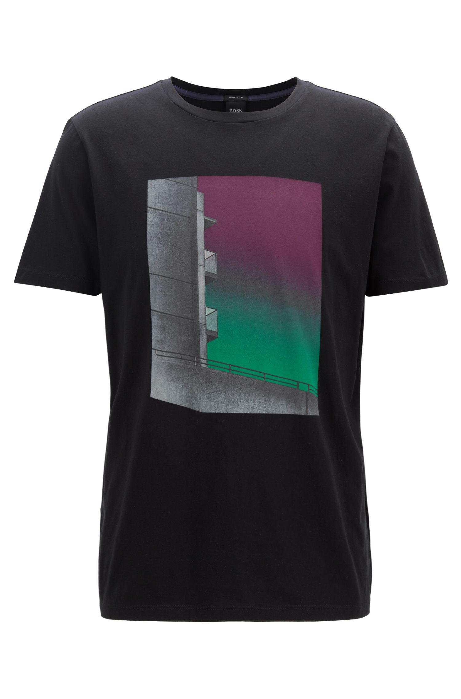 Washed Pima-cotton T-shirt with gradient photographic print, Black