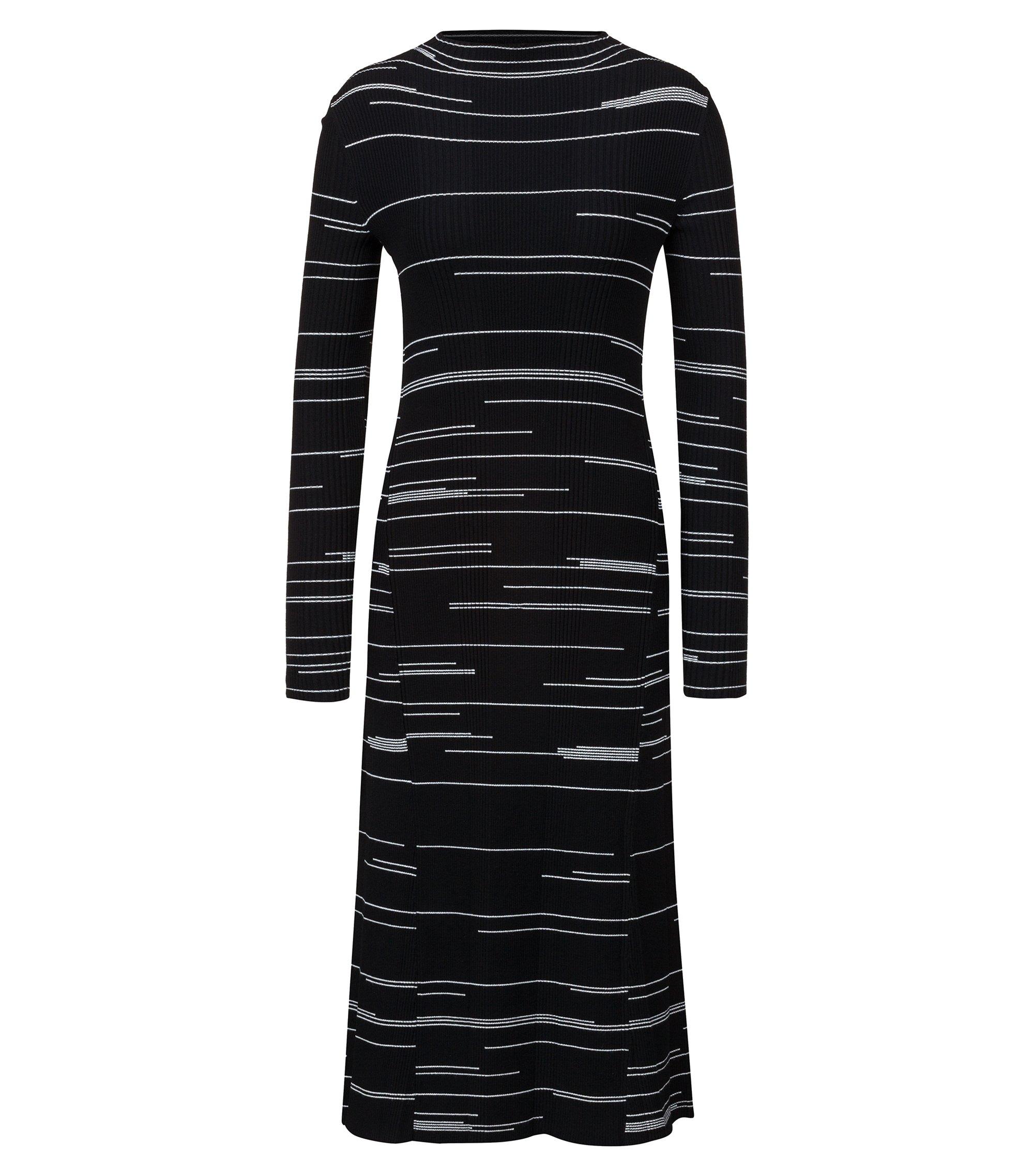 Vestito slim fit in tessuto elasticizzato a righe irregolari, A disegni