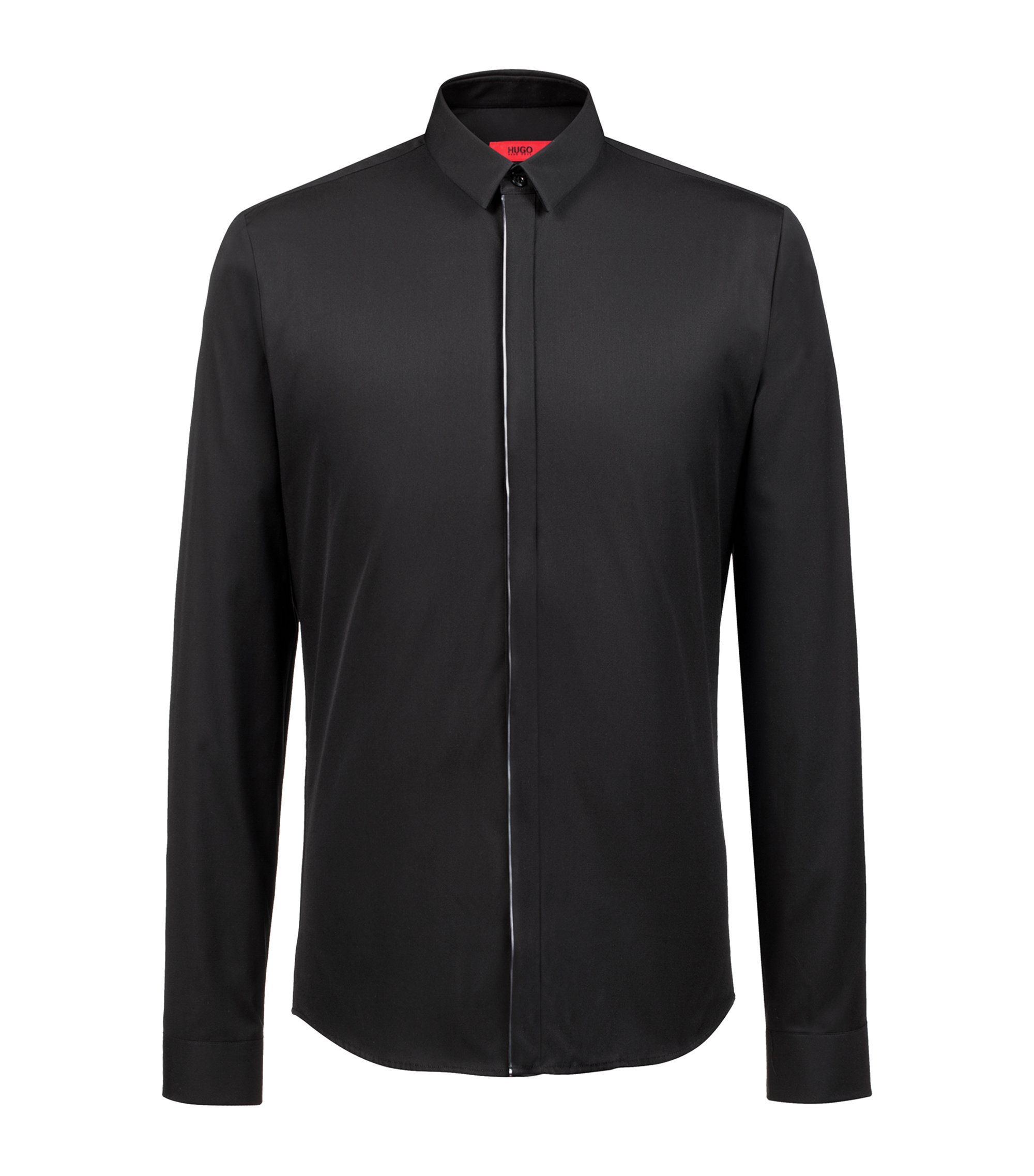 Extra-slim-fit cotton shirt with metallic piping, Schwarz