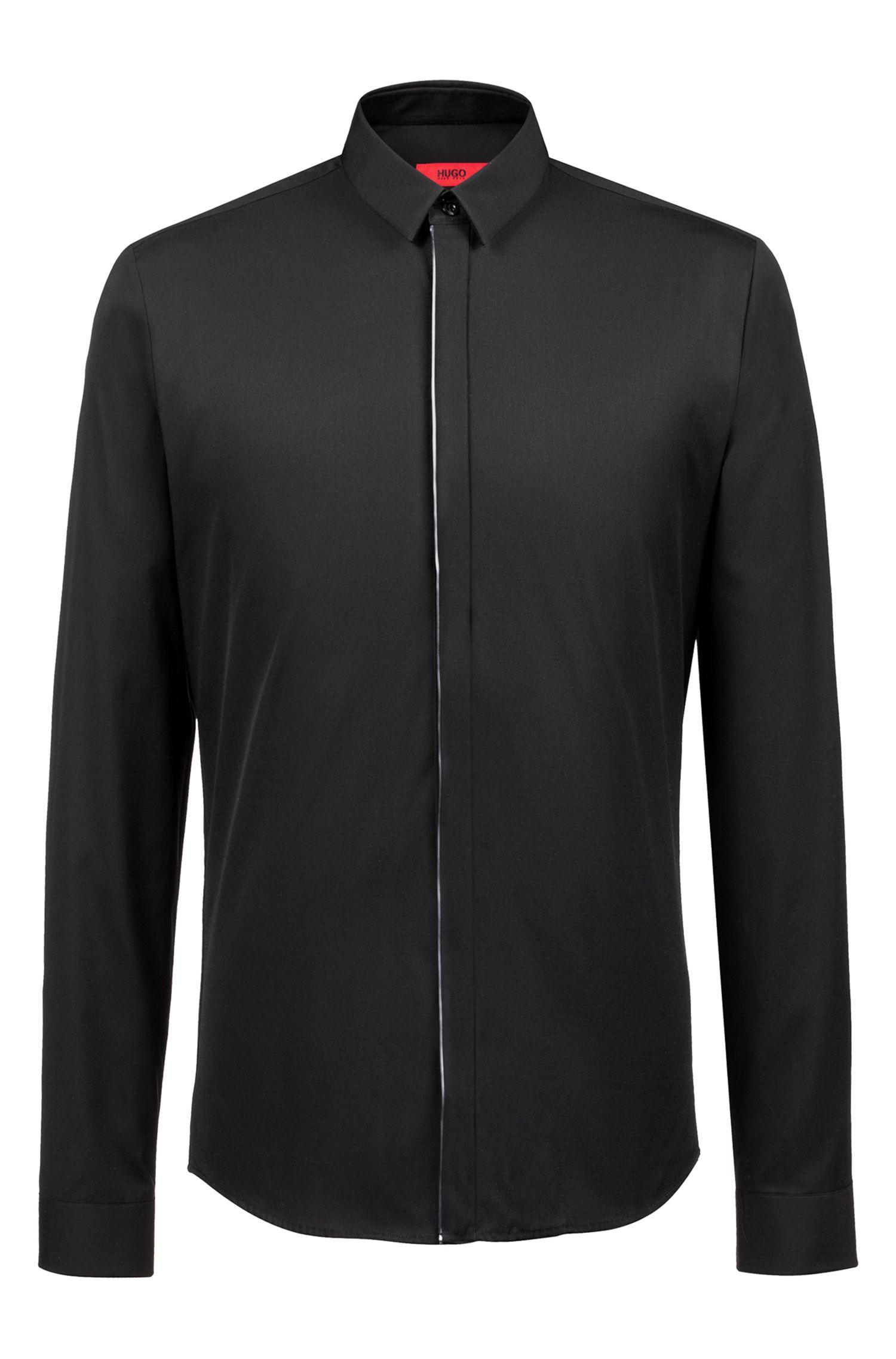 Extra slim-fit overhemd van katoen met metallic biezen, Zwart