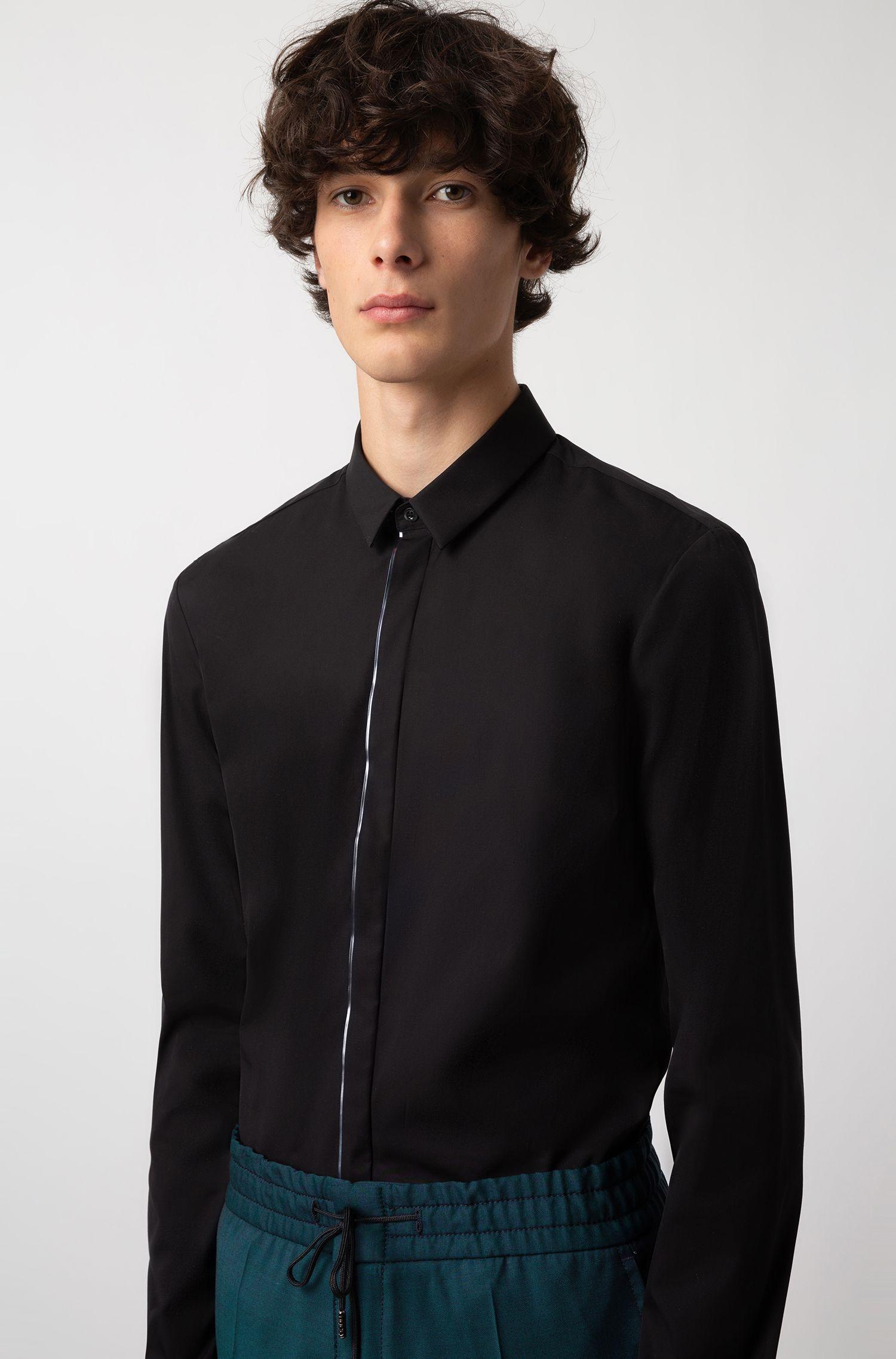 Extra Slim-Fit Hemd aus Baumwolle mit Metallic-Paspeln, Schwarz