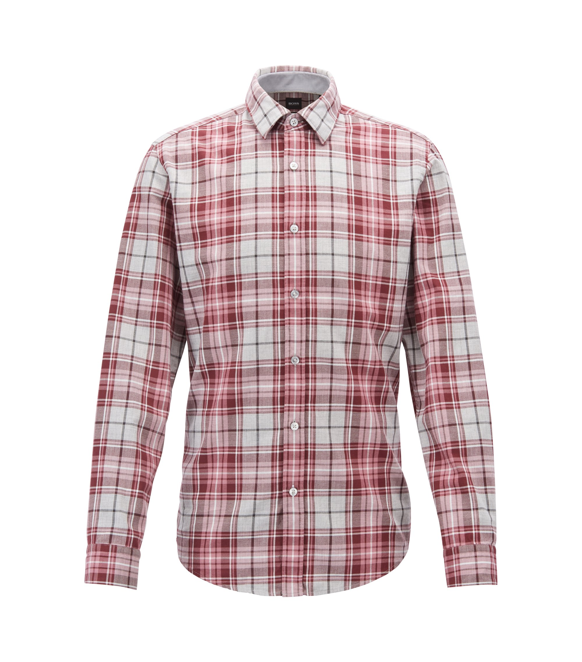 Slim-fit shirt in heathered-check cotton twill, Open Purple
