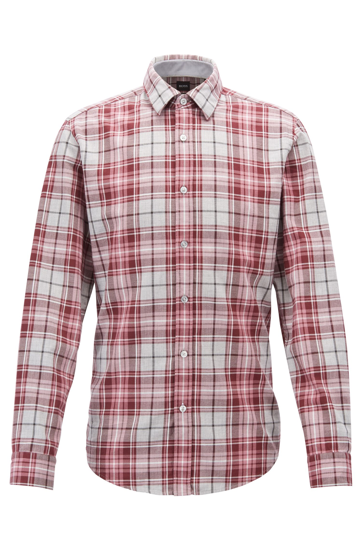 Kariertes Slim-Fit Hemd aus meliertem Baumwoll-Twill, Flieder