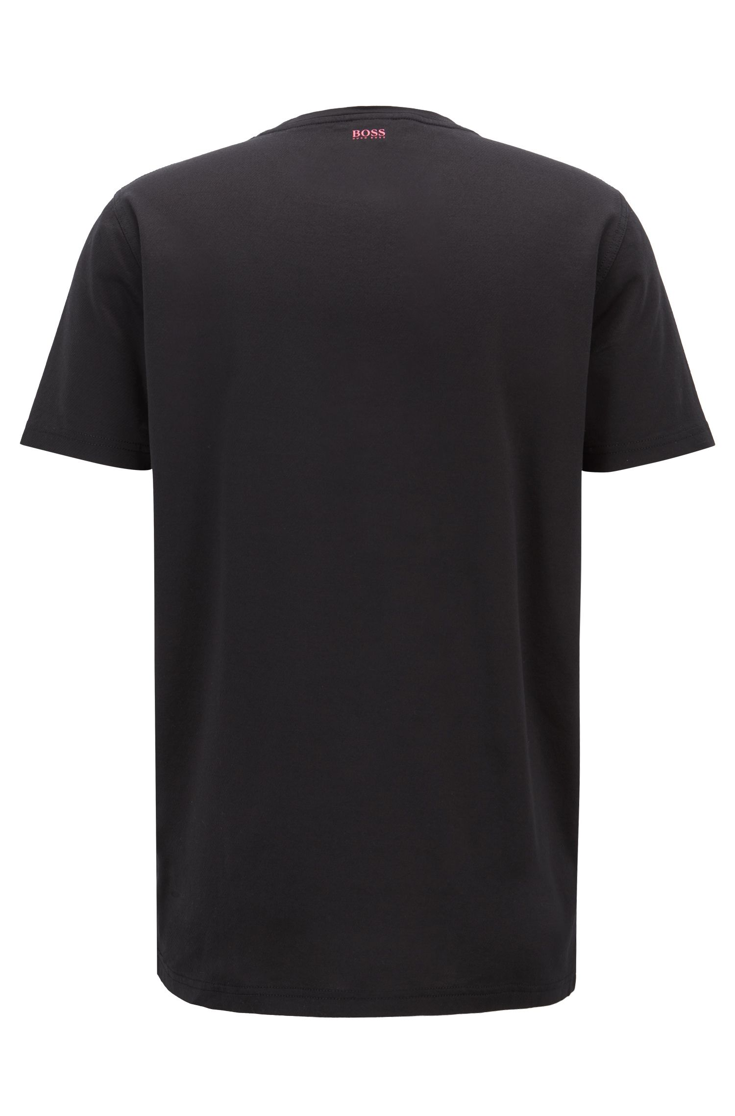 Cotton twill T-shirt with embroidered graphic, Black