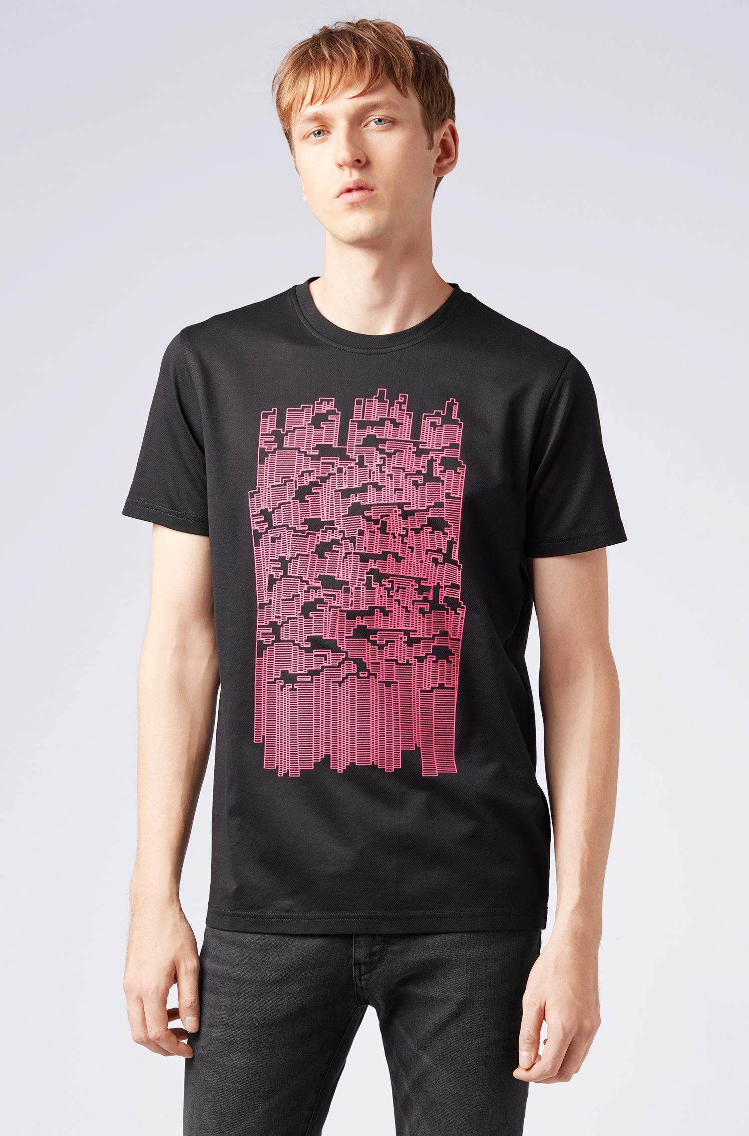 T-shirt in twill di cotone con motivo grafico ricamato, Nero