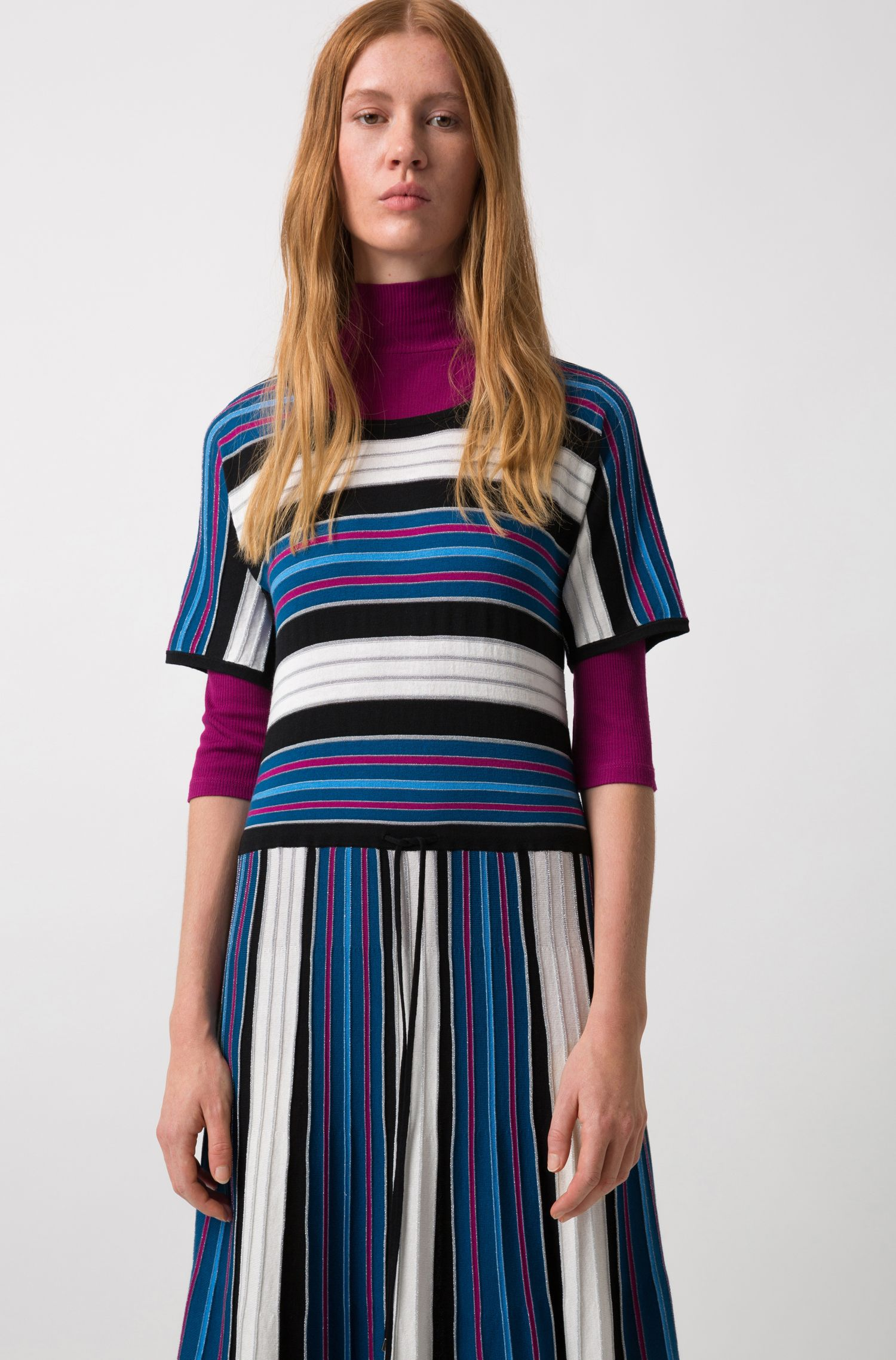 Short-sleeved midi dress in a striped knit, Patterned